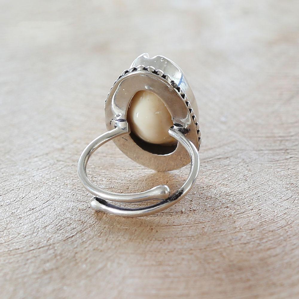 Surfer Ring aus 925 Sterling Silber mit Kauri Muschel echt Silber Schmuck einstellbar